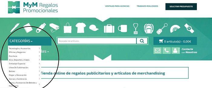 Categorias tienda online regalos publicitarios