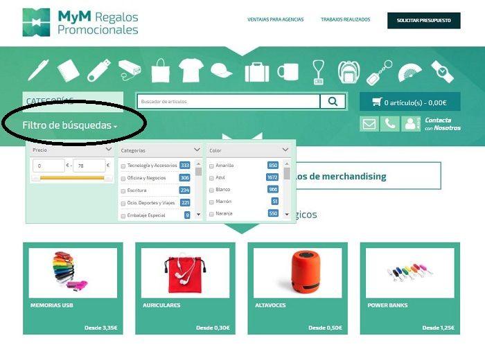 Filtro de busquedas en la tienda online
