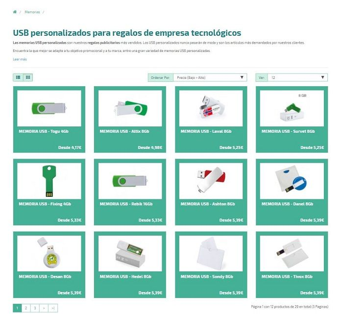 USB personalizados en la tienda online