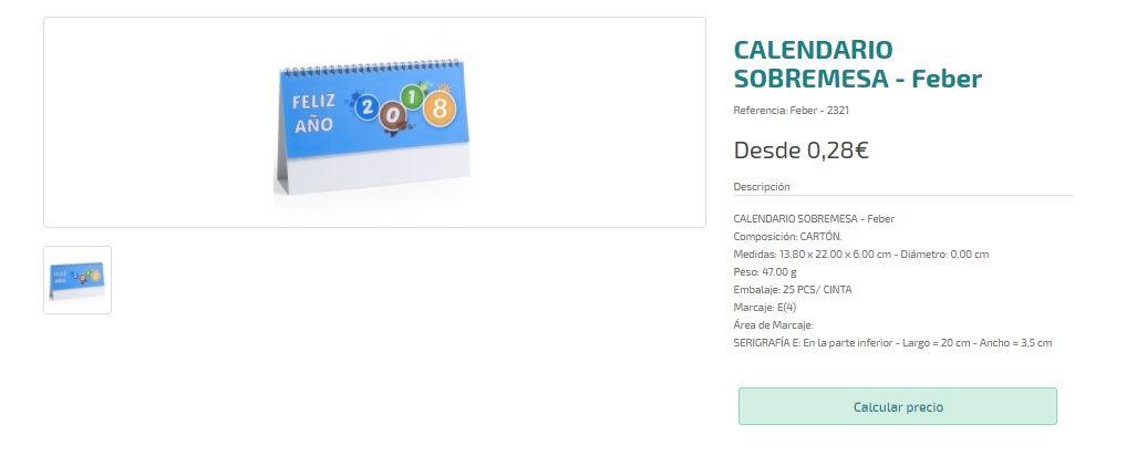Calendarios personalizados de 2018