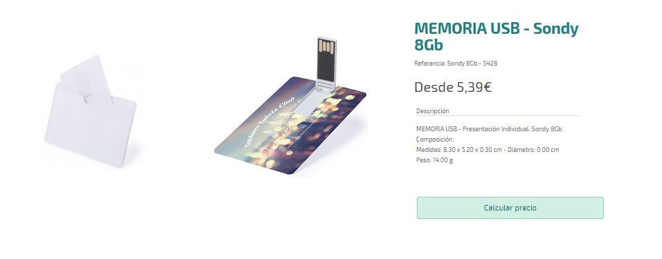 Memorias USB personalizadas con forma de tarjeta