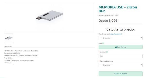 Pendrives personalizados premium modelo Zilcon