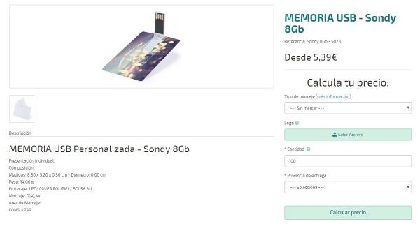 USB Personalizado modelo Sondy