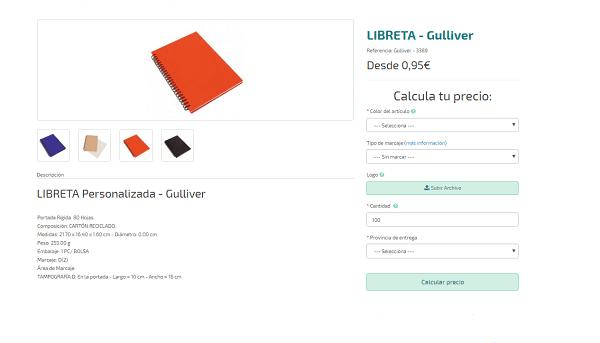 Libretas personalizadas baratas modelo Gulliver