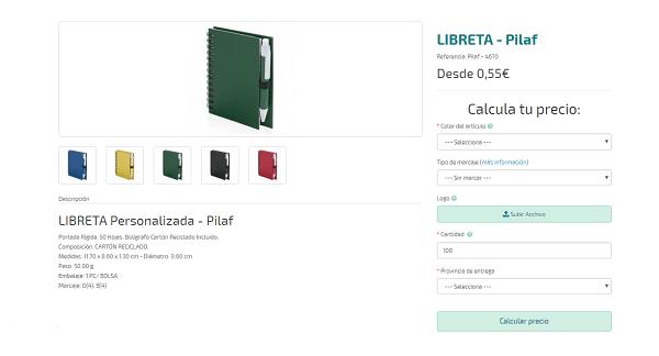 Libretas personalizadas baratas modelo Pilaf