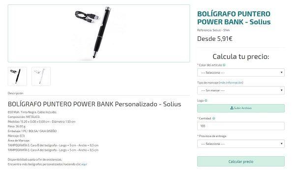 boligrafos personalizados punteros power bank
