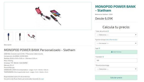 palos de selfie personalizados con power bank