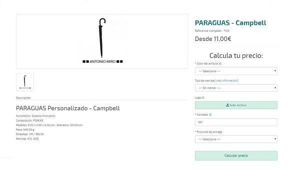 paraguas personalizados premium campbell