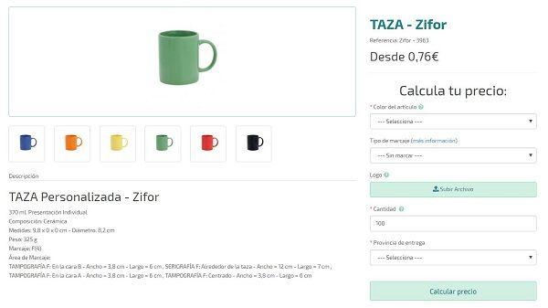 Tazas personalizadas modelo Zifor