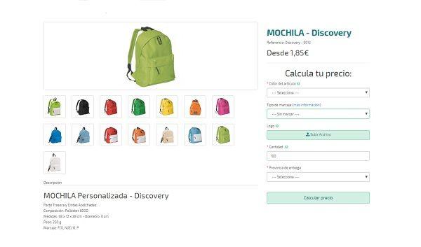 Mochilas personalizadas baratas modelo Discovery