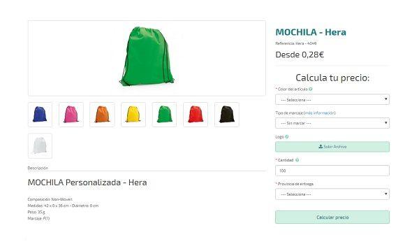 Mochilas personalizadas modelo Hera