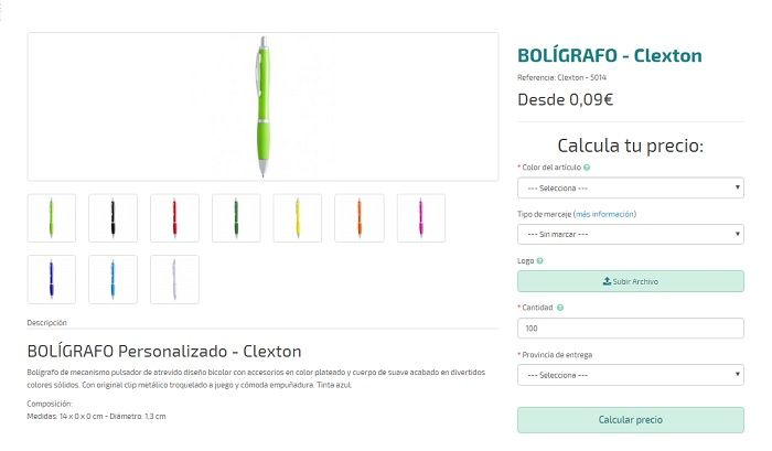 bolígrafos personalizados modelo clexton