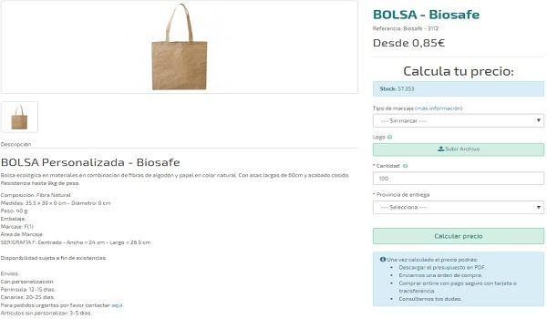 Bolsas personalizadas modelo Biosafe