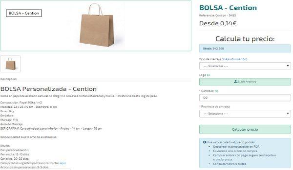 Bolsa personalizada Cention