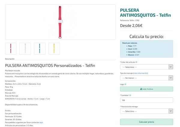 Pulseras antimosquitos personalizadas
