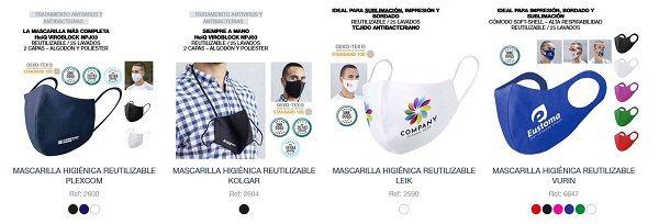 Mascarillas antibacterias personalizadas